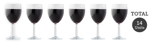 6 medium glasses red wine
