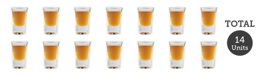 14 single shots of spirits