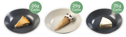 Apple pie - 26g carbs; chocolate & nut cone - 29g carbs; cheesecake - 35g carbs