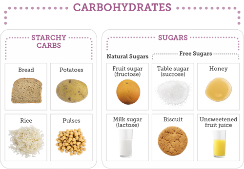 Diagram showing starchy and sugar carbohydrates